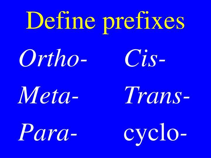 Define prefixes