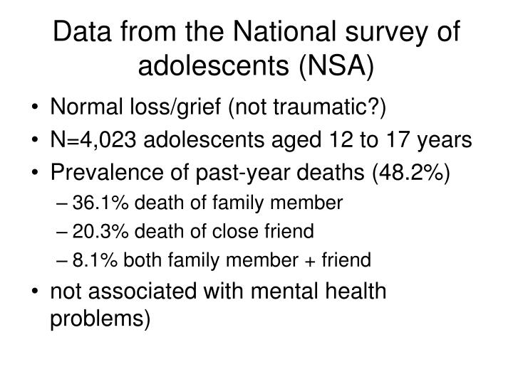 Data from the National survey of adolescents (NSA)