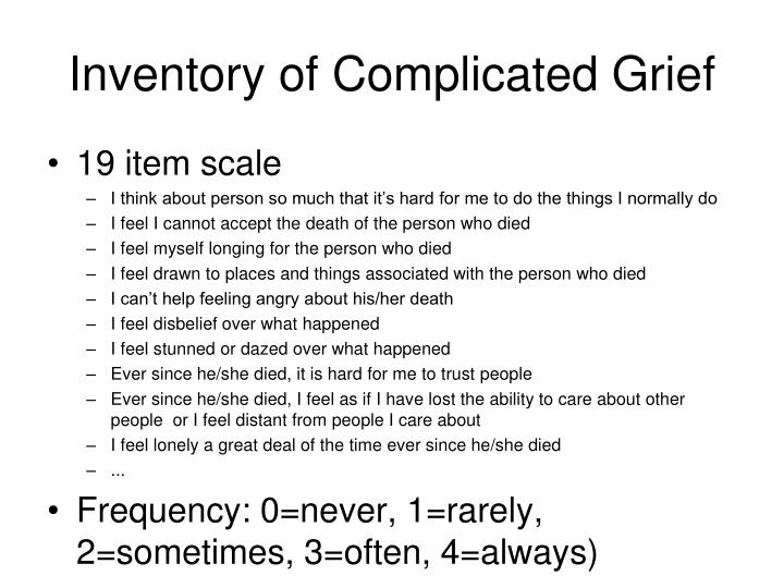 Inventory of Complicated Grief