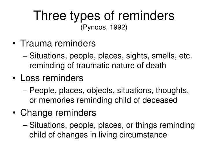 Three types of reminders