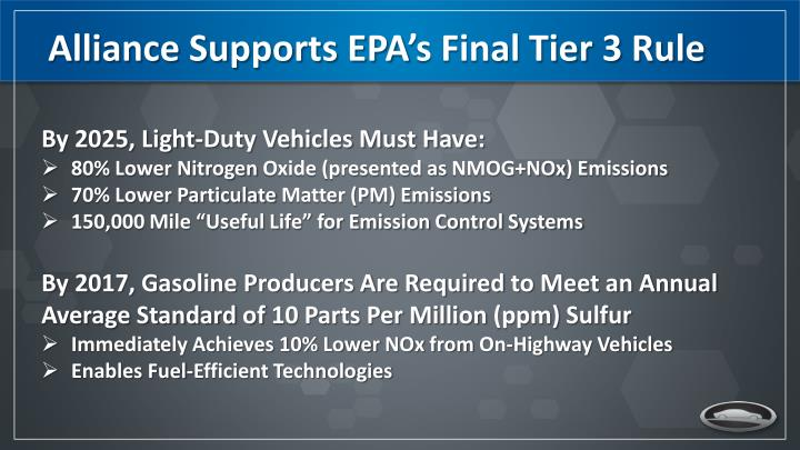 Alliance Supports EPA's Final Tier 3 Rule