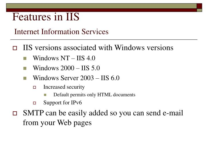 Features in IIS