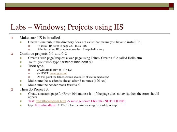 Labs – Windows; Projects using IIS