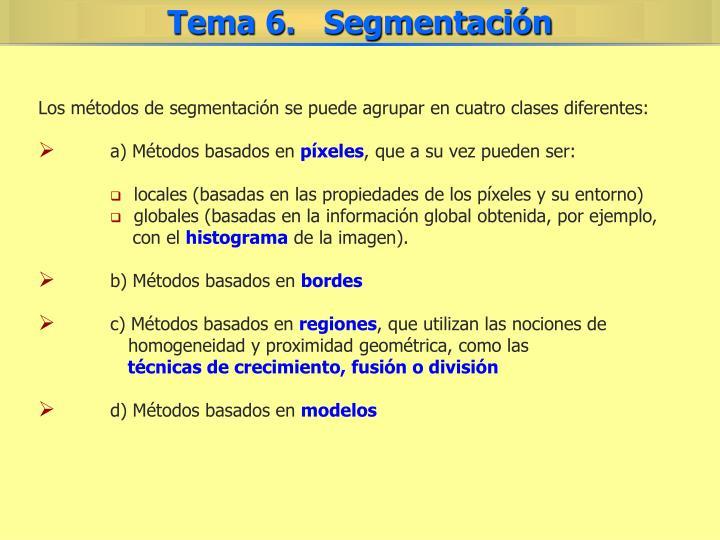 Los métodos de segmentación se puede agrupar en cuatro clases diferentes: