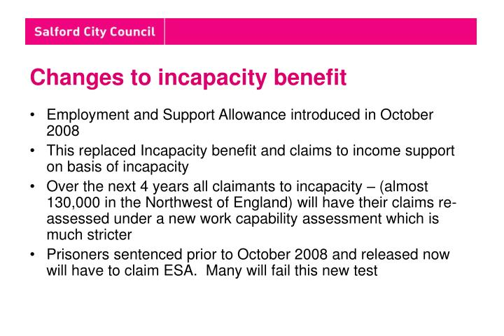 Changes to incapacity benefit