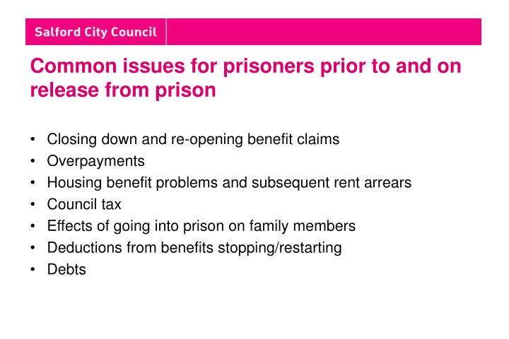 Common issues for prisoners prior to and on release from prison