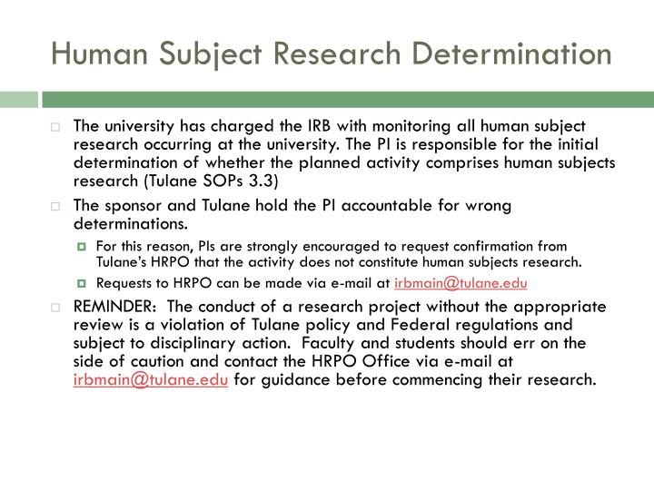 Human Subject Research Determination