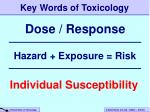 key words of toxicology