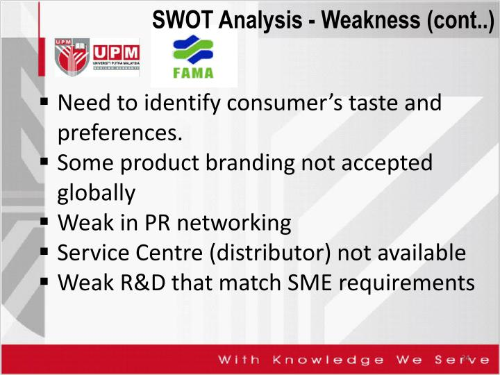 SWOT Analysis - Weakness (cont..)