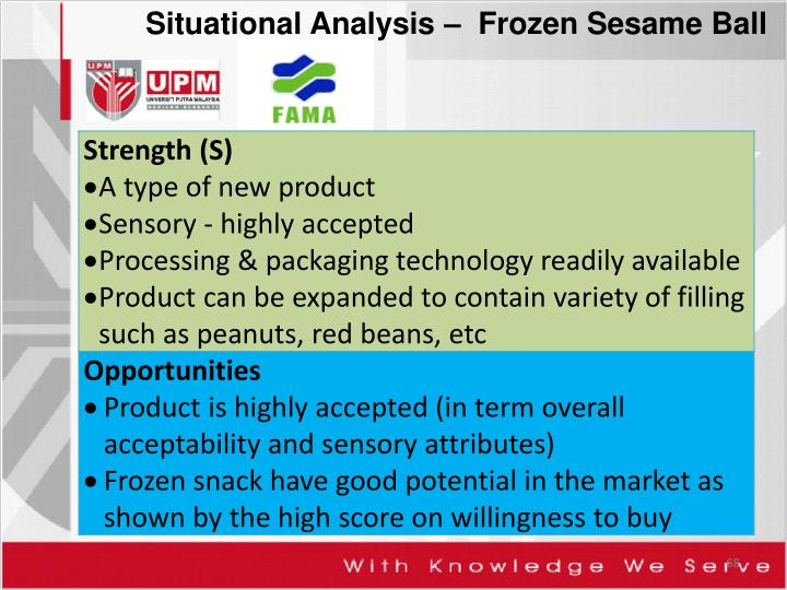 Situational Analysis –  Frozen Sesame Ball