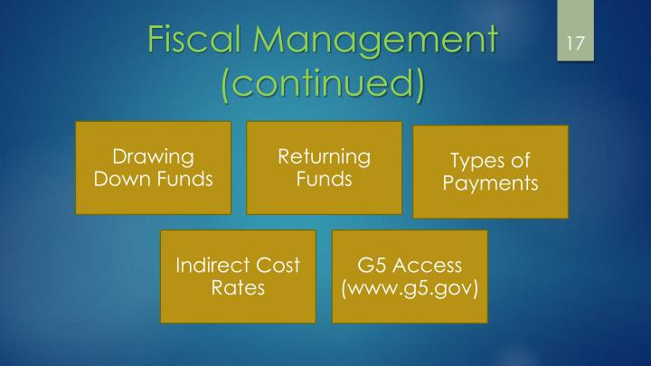 Fiscal Management (continued)