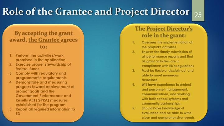 Role of the Grantee and Project Director