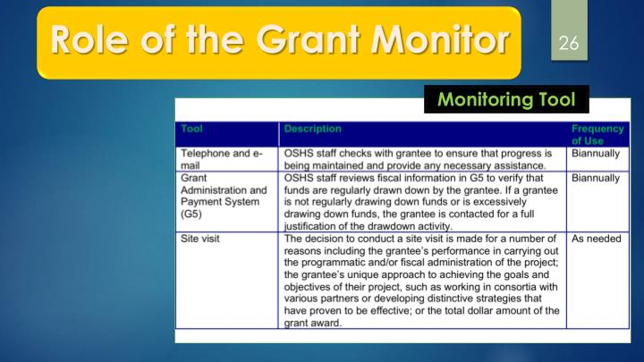Role of the Grant Monitor