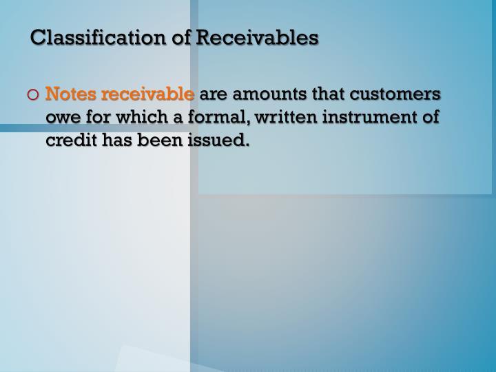 Classification of Receivables