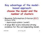 key advantage of the model based approach choose the model and the number of clusters