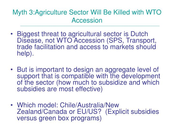 Myth 3:Agriculture Sector Will Be Killed with WTO Accession