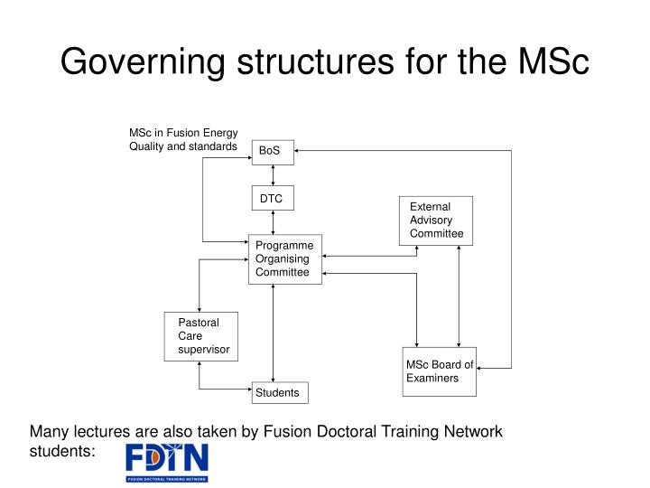 Governing structures for the MSc
