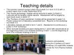 teaching details