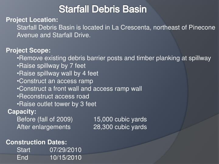Starfall Debris Basin