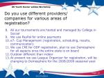 do you use different providers companies for various areas of registration1