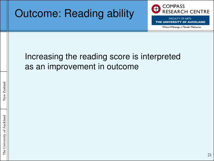 Outcome: Reading ability