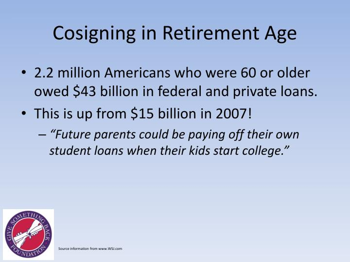 Cosigning in Retirement Age
