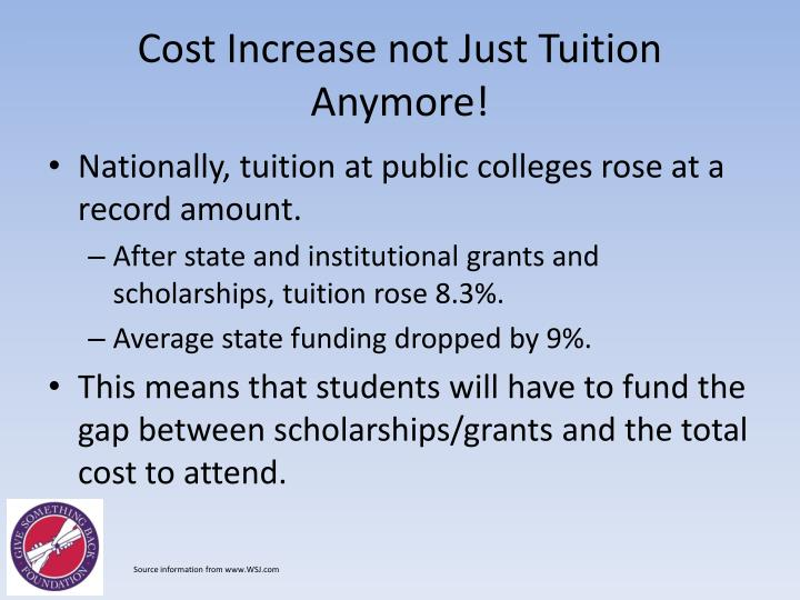 Cost Increase not Just Tuition Anymore!