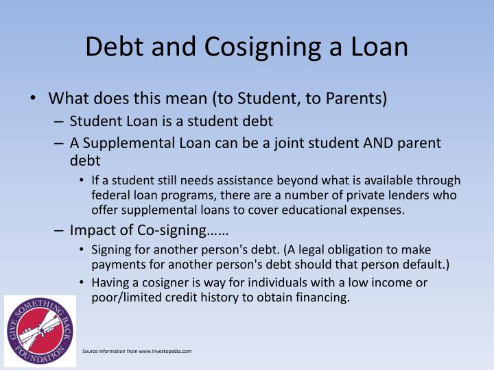 Debt and Cosigning a Loan