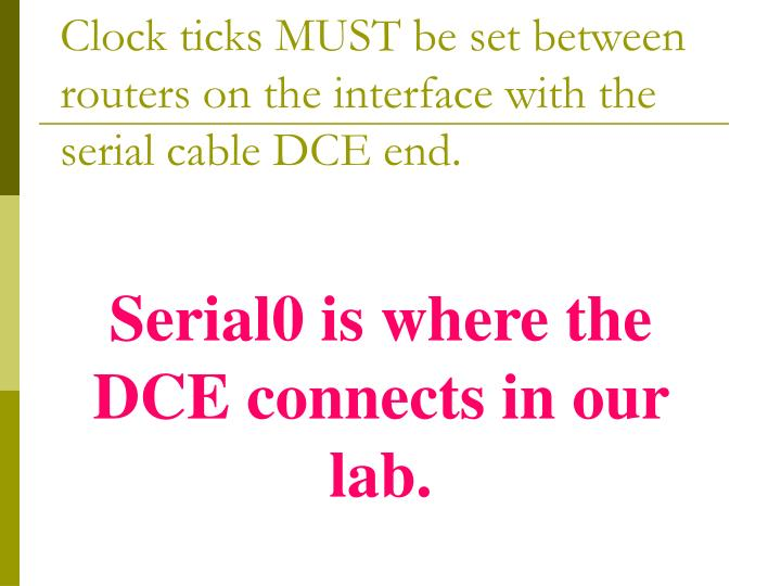 Clock ticks MUST be set between routers on the interface with the serial cable DCE end.