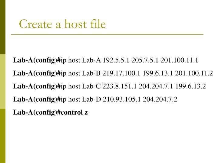Create a host file