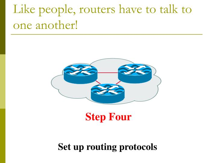 Like people, routers have to talk to one another!