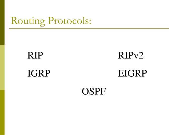 Routing Protocols: