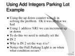 using add integers parking lot example