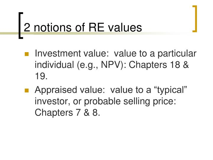 2 notions of RE values