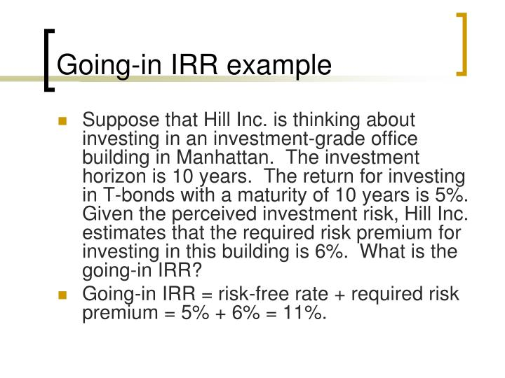Going-in IRR example