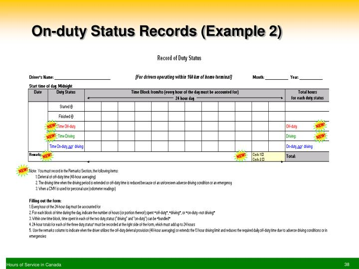 On-duty Status Records (Example 2)
