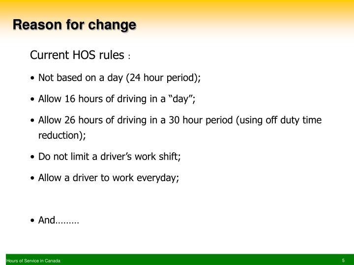 Reason for change