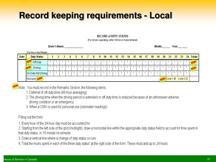 Record keeping requirements - Local
