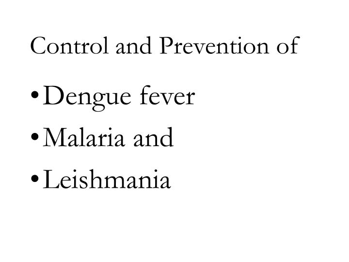 Control and Prevention of