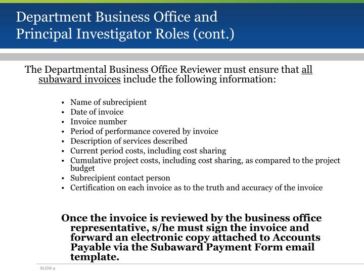 Department Business Office and Principal Investigator Roles (cont.)