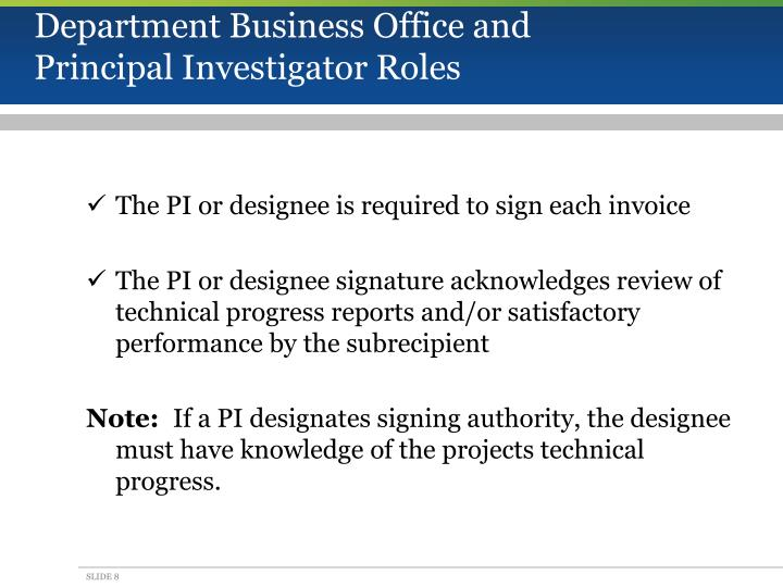 Department Business Office and Principal Investigator Roles