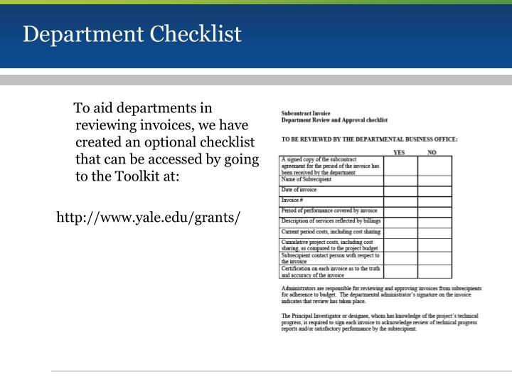 Department Checklist
