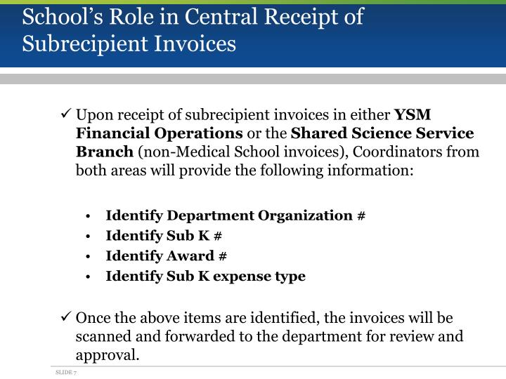 School's Role in Central Receipt of
