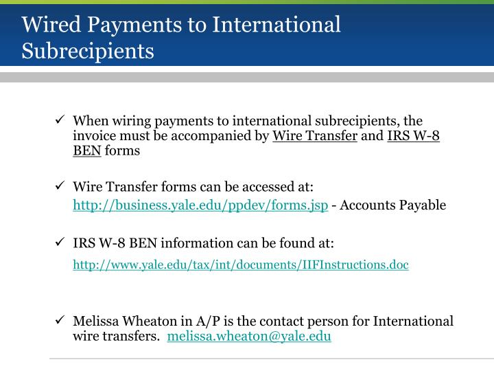 Wired Payments to International Subrecipients