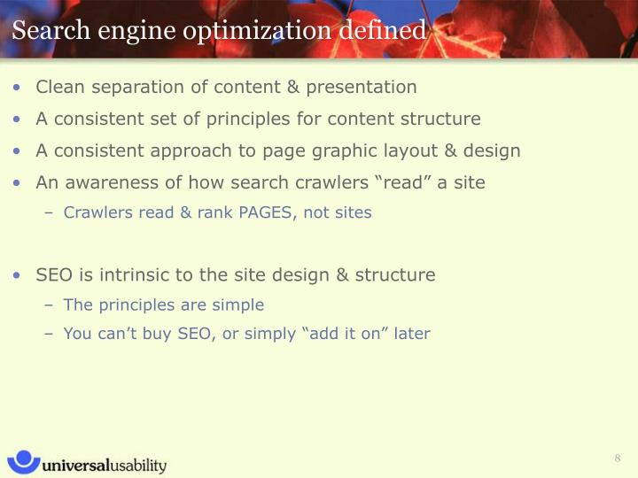 Search engine optimization defined