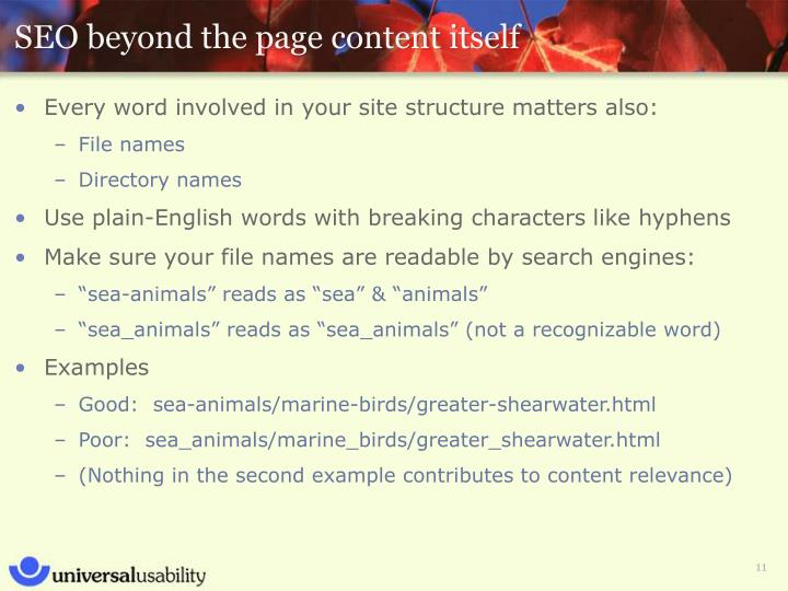 SEO beyond the page content itself