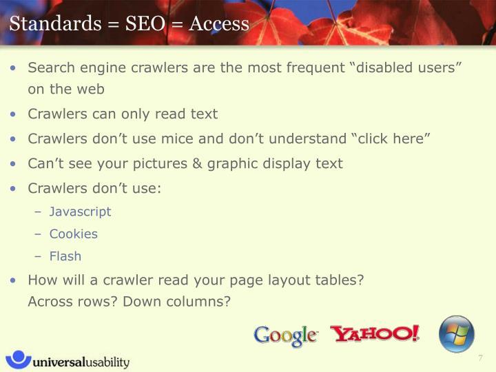 Standards = SEO = Access