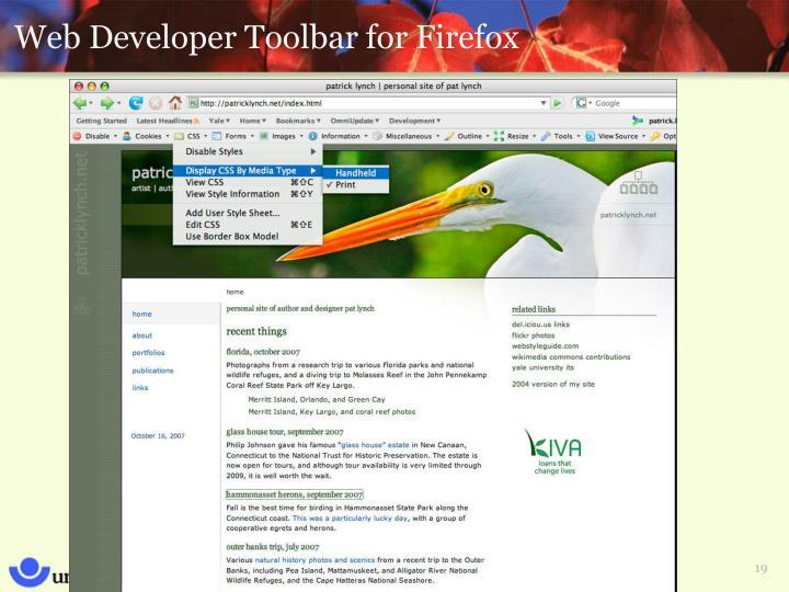 Web Developer Toolbar for Firefox
