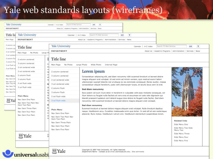 Yale web standards layouts (wireframes)