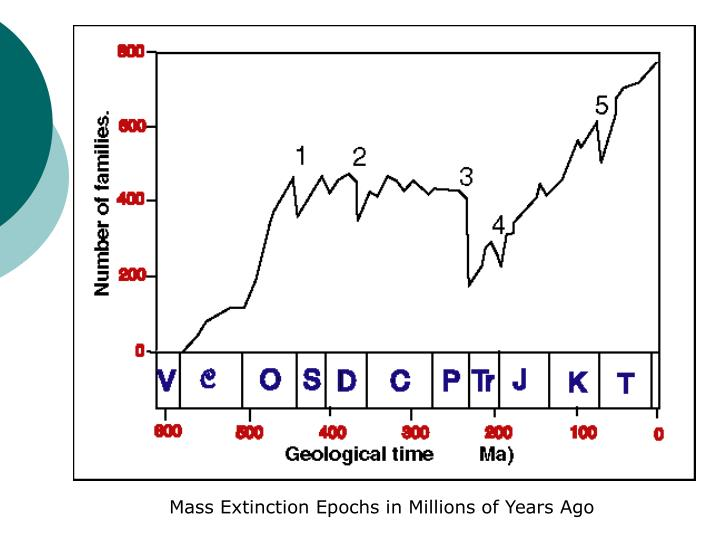 Mass Extinction Epochs in Millions of Years Ago
